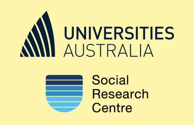 Graphic with yellow background, and the logos for Universities Australia and the Social Research Centre
