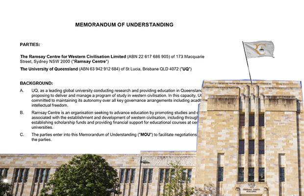 A photo of a building from the University of Queensland has text from the Ramsay Centre Memorandum of Understanding superimposed on top of it.