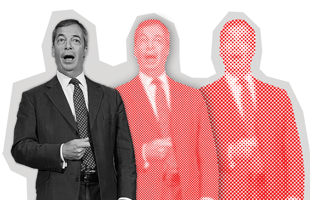 An artistic graphic depicting Nigel Farage three times; in the second two images he is depicted in stylised red dots