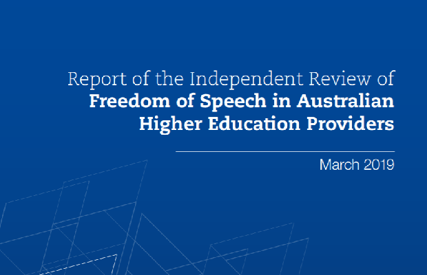 "The cover of the review, which reads: ""Report of the independent review of freedom of speech in australian higher education providers, March 2018"""