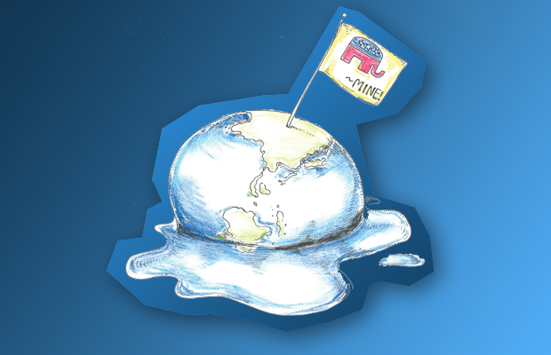 An illustration of a melting globe with a Republican flag in it.