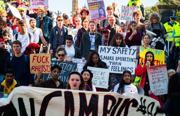 An image of protesters outside the University of Sydney