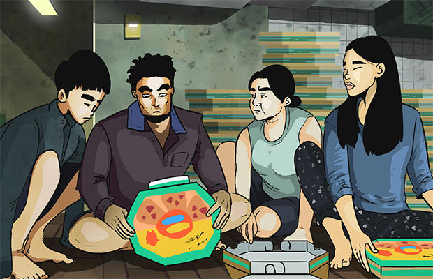 an illustrated still from the film Parasite featuring the four family members sitting down folding pizza boxes