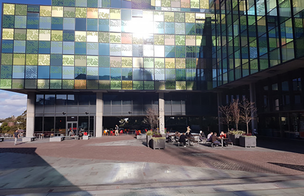A photo of the JFR Plaza at the University of Sydney.