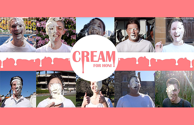 Image of Cream's cover photo, 10 candidates covered in whipped cream