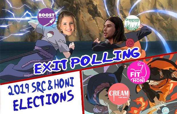 "An image from Naruto with Josie and Liam's heads superimposed over the characters. They aare throwing their logos at each other in a combative way. The text reads: ""Exit polling: 2019 SRC & Honi elections"""