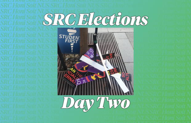 SRC elections and day two in text on SRC background and photo of smashed A-frames thanks to Eric