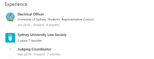 A screenshot of Lu's Linkedin profile, which says he works at the 'Electrical Officer' at the SRC