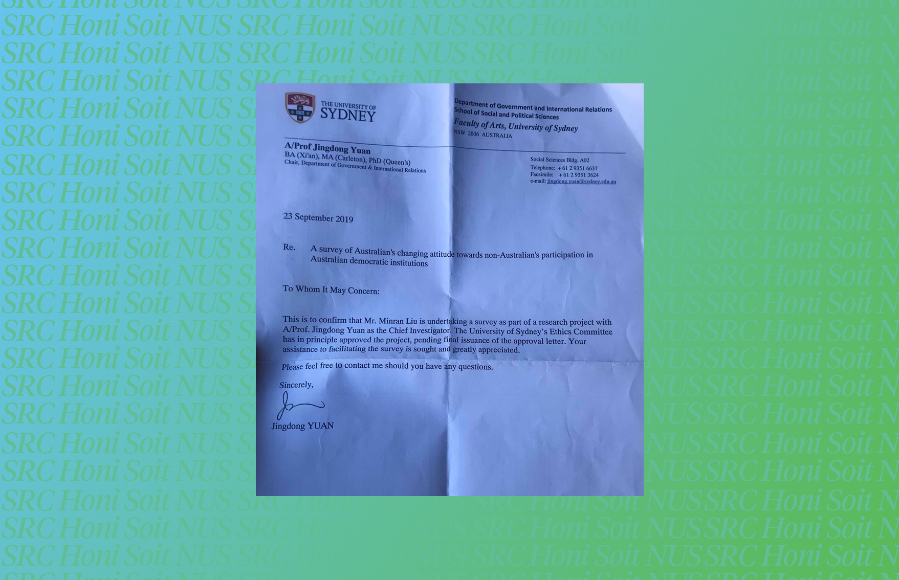 A photo of the letter supplied to research assistants over a green and blue background. The contents of the letter are discussed in the article.