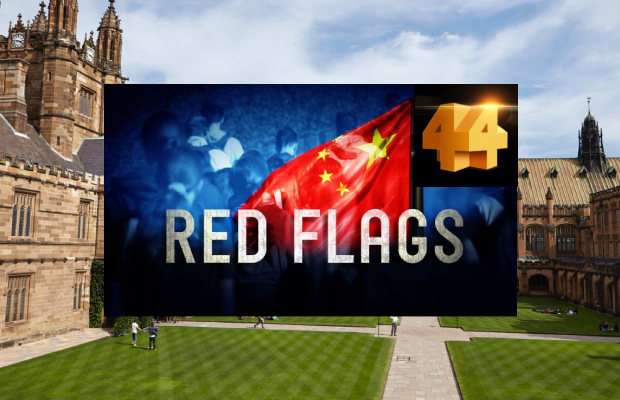 An image of the University of Sydney quad with the Four Corners promotional image for their 'Red Flags' episode super imposed over the top. The promotional graphic features a Chinese flag with the words 'Red Flags' over the top, as well as the Four Corners logo