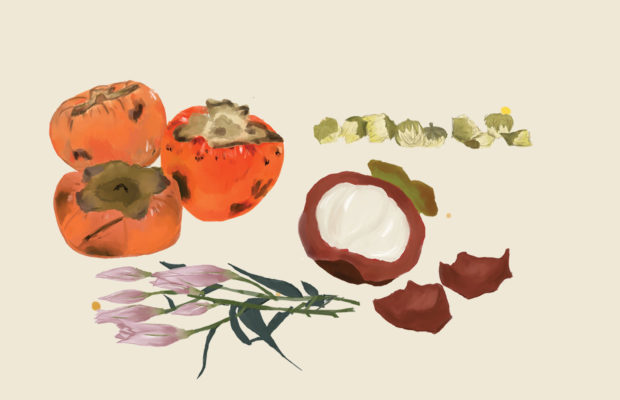 Persimmons, chrysanthemum buds, lilies and mangosteens