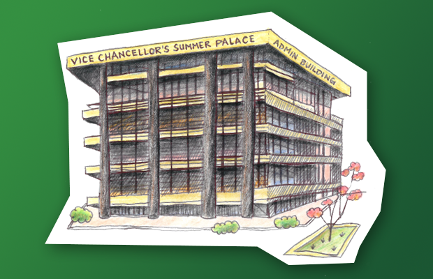 "A pencil illustration of the F23 administration building. On the top of the building it says: ""Vice-Chancellor's Summer Palace"" and ""Admin Building"""