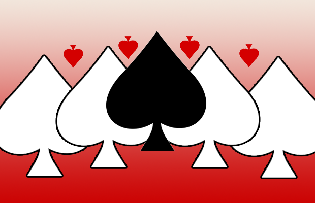 An image of a number of spades, both red and black