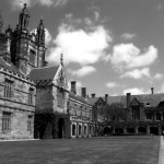 university of sydney quad in black and white