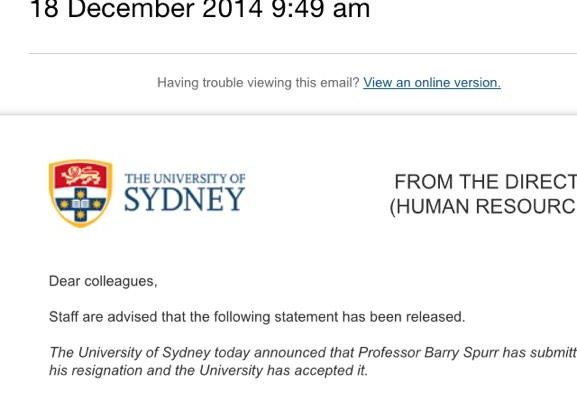 The University's email to staff announcing Barry Spurr's resignation.