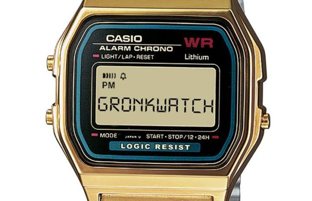 A Casio watch with the word GRONKWATCH on it.