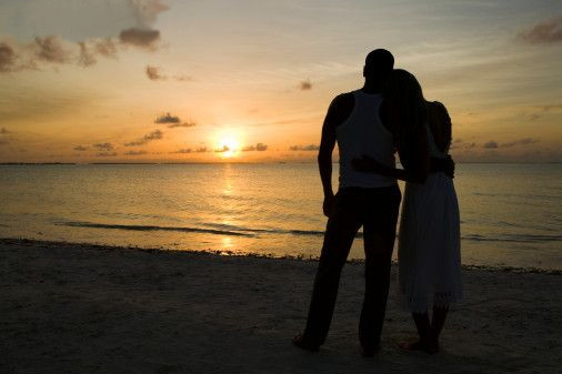 Silhouette of Couple on Beach