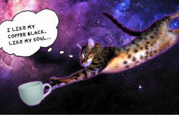 "Cat floating in space with coffee cup and text ""I like my coffee black, like my soul..."""