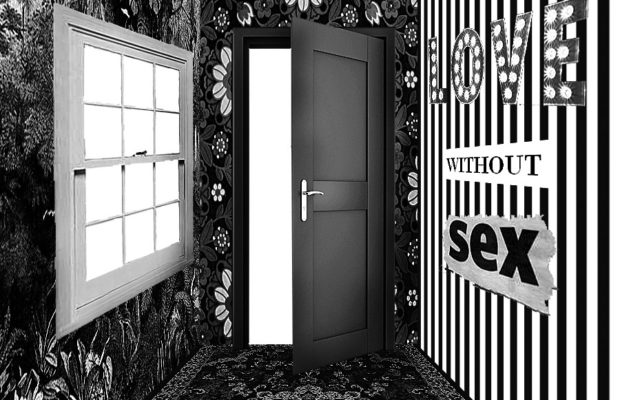 "Image of room with open door, text on wall says ""love without sex""."