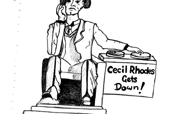 Cecil Rhodes, atop a Washington Monumentesqe chair, DJs like no other.