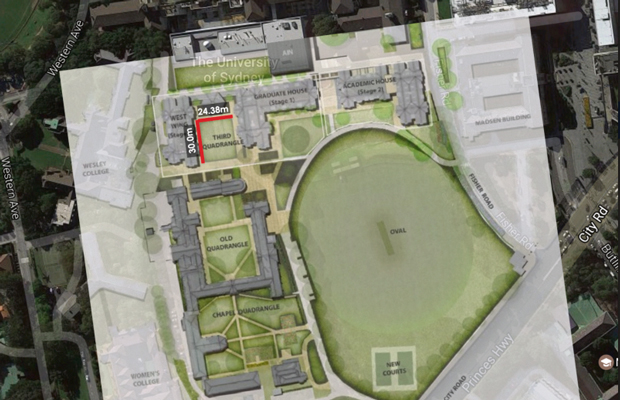 An image showing the proposed croquet lawn at Paul's College would not, in fact, be champion-sized.