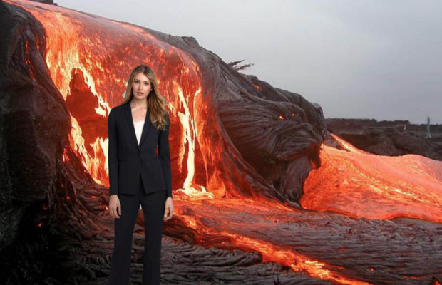 Woman in front of lava