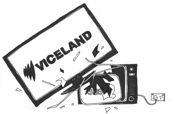 Illustration of a new television playing VICELAND squashing an old television playing SBS.