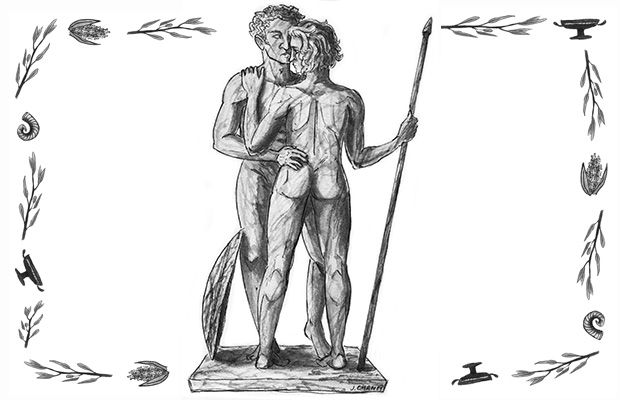 Artist's depiction of Greek statues