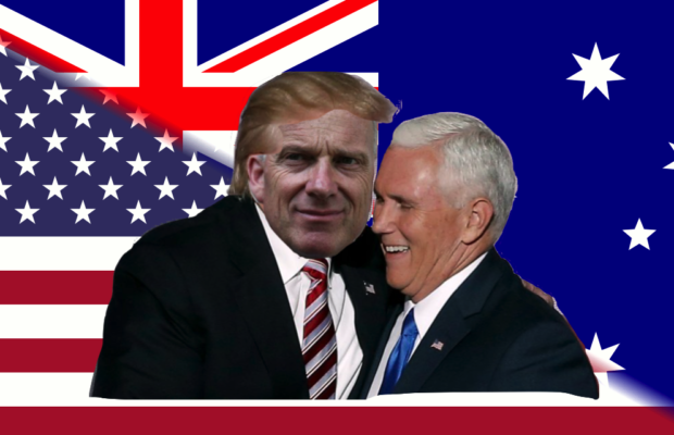Comically bad photoshop image of Mike Pence smiling next to a picture of Donald Trump, whom has had University of Sydney Vice Chancellor Michael Spence's face superimposed on the front. The background is a collage of the American flag and the Australian flag.
