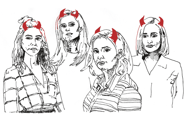 Girls cast with devil horns
