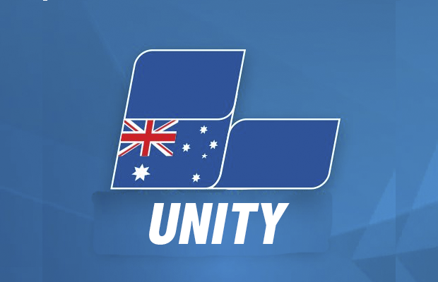 Liberal party logo with text saying unity