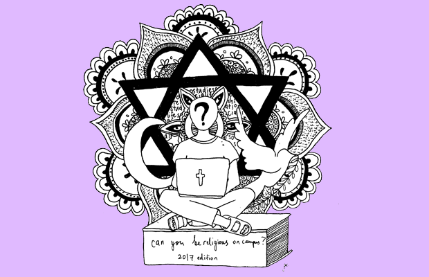 Illustration of a student sitting with a laptop with various religious symbols behind them