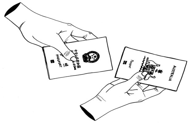 hands holding Chinese and Australian passports