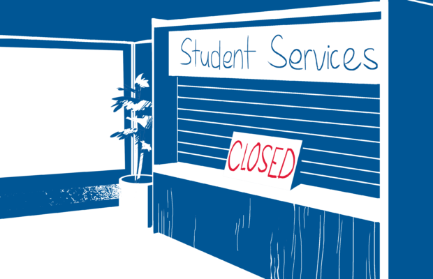 Student services counters have been closed all across campus. Art: Rebekah Wright.