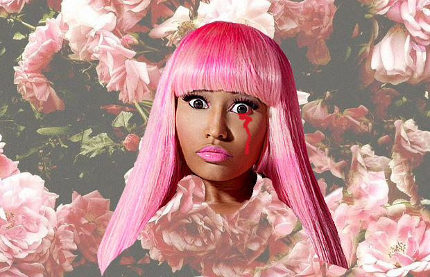 Cut-out image of Nicki Minaj's head, donned with a platinum pink wig, crying blood from one eye, on a faded background of roses.