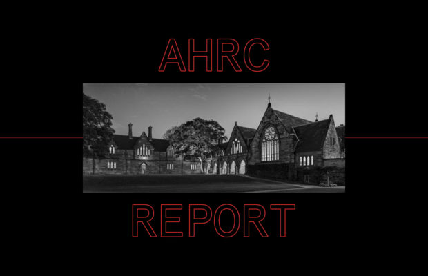 "Black and white image of St Paul's college with a thick black border. The words ""AHRC Report"" appear in outlined red text above and below the photograph."
