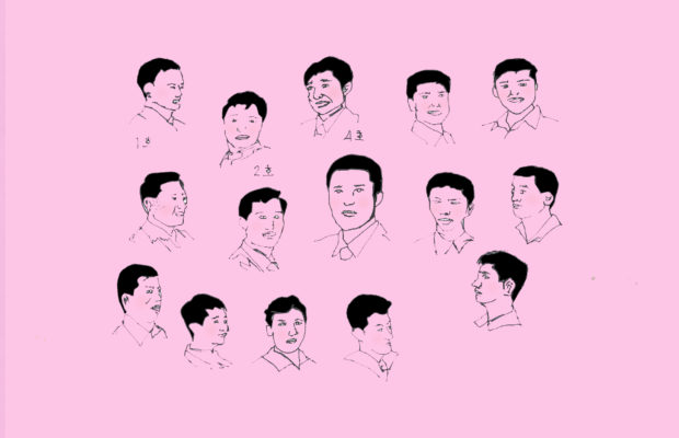 Hand drawn head shots of the allegedly 13 Legal Haircuts in North Korea, on a pink background.