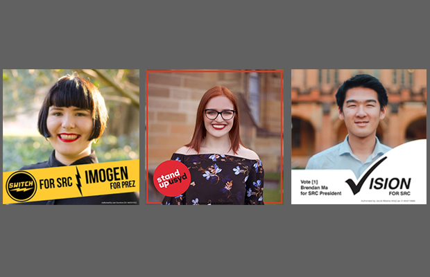 Your SRC President candidates. From left to right: Imogen Grant, Bella Pytka, Brendan Ma