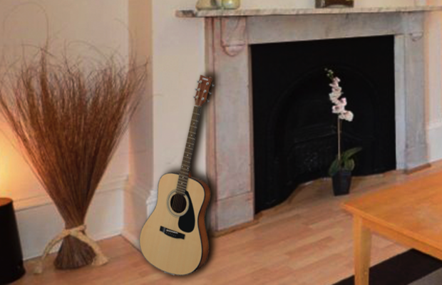 A lonely guitar.