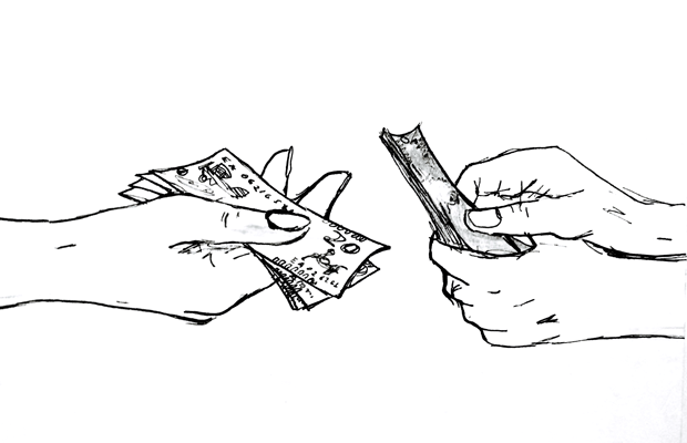 Hands exchanging cash