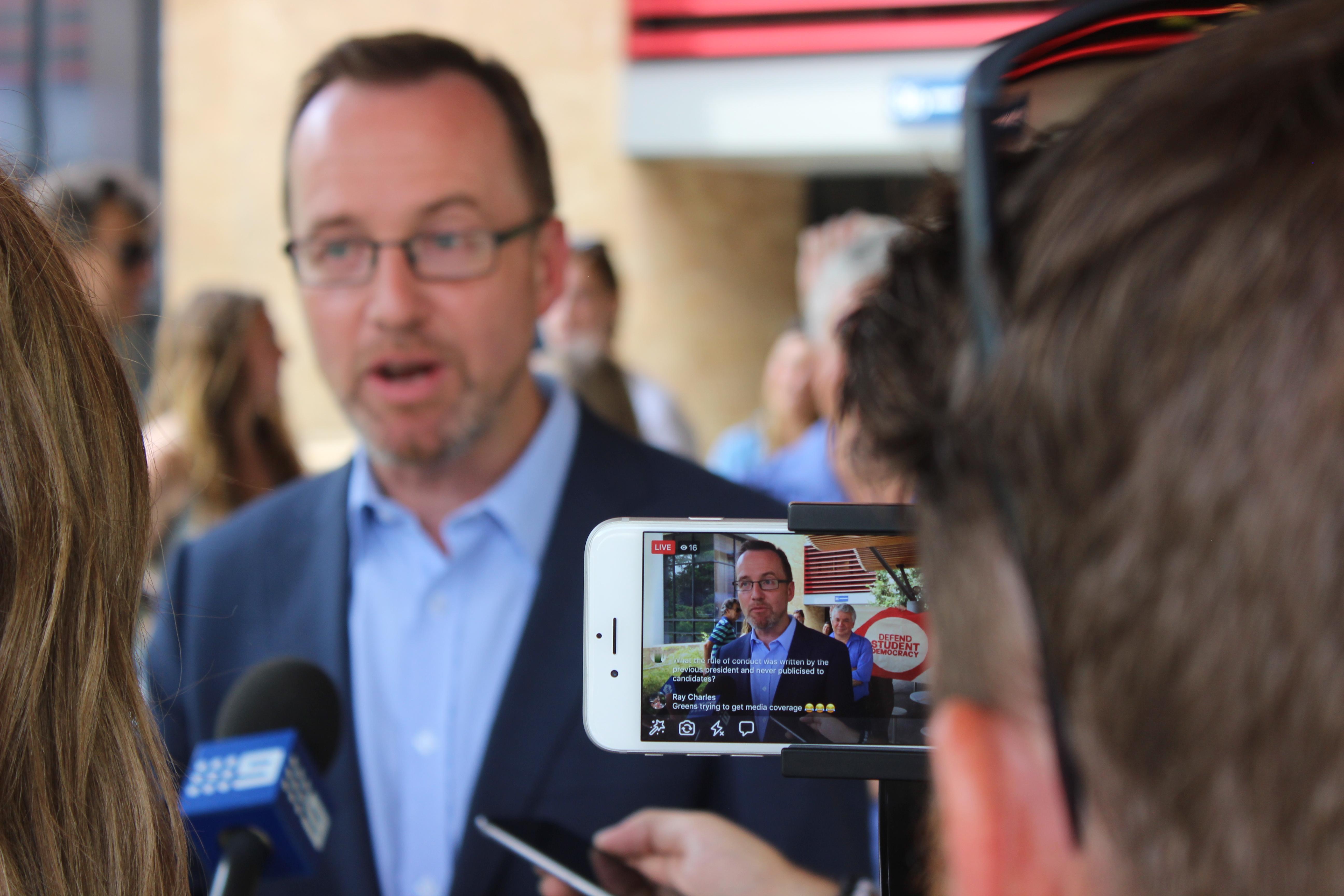 MP David Shoebridge speaks to media facebook live
