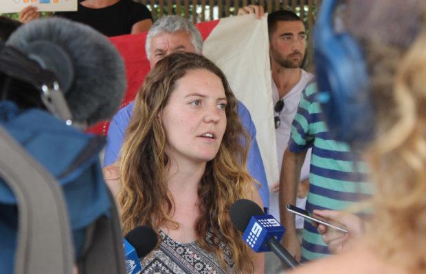 Chloe Rafferty speaks at protest