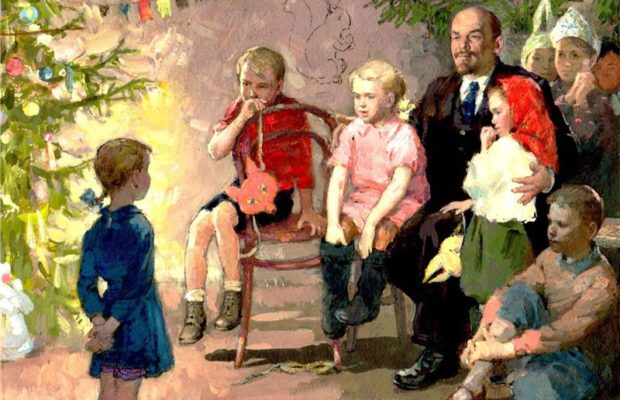 Child, blue dress, stands left in image in front of a brightly lit Christmas tree, reciting to a group of children and Lenin on image right. Painting