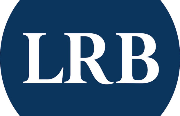 Blue circle with letters LRB in white, logo of the London Review of Books