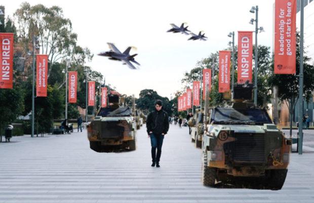 military vehicles on Eastern Avenue