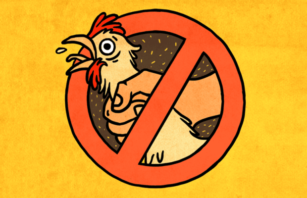 Cartoon chicken being choked by hand, yellow background, cross over image