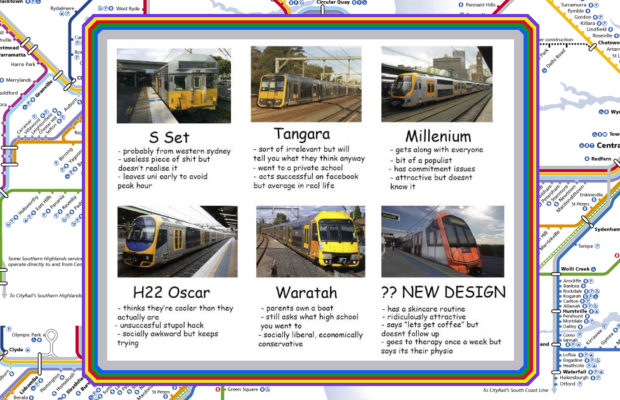 A meme about Sydney train types