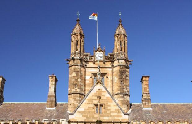 The university flag flies over the quad
