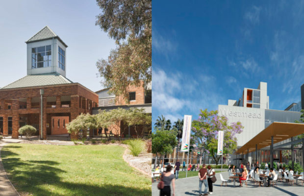 The old and the new: Cumberland campus and the Westmead campus.
