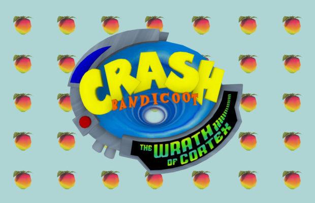 Crash bandicoot logo over fruit background